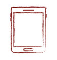 tablet device icon in dark red blurred silhouette vector image