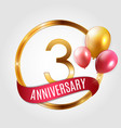 template gold logo 3 years anniversary with ribbon vector image vector image