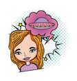 woman with speech bubble and ufo pop art vector image vector image