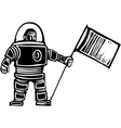 Woodcut Astronaut with Flag vector image vector image
