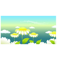 Sunflower under a clouded sky vector image