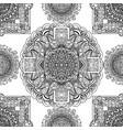 black and white seamless pattern mandala asian vector image