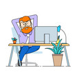 a contented man sits comfortably stretched out in vector image vector image