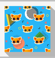 Animal seamless pattern collection with fox 8 vector image vector image
