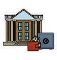 bank buildings with wallet and strongbox vector image vector image
