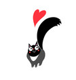 beautiful black funny cat in love with a heart vector image vector image