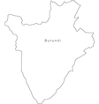 Black White Burundi Outline Map vector image vector image