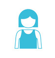 blue color silhouette of girl half body and vector image vector image