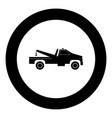 breakdown truck black icon in circle vector image vector image