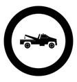 breakdown truck black icon in circle vector image