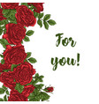 card with garden white and red roses and vector image vector image