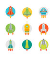 cartoon space ship or rocket color icons set vector image vector image