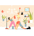 cleaning house fitness and yoga motivation young vector image vector image