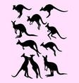 cute black silhouette kangaroos vector image