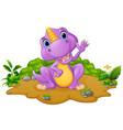 cute dinosaur cartoon waving vector image