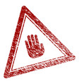 distress textured stop hand triangle stamp seal vector image