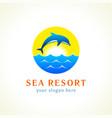 dolphin sea waves logo gi vector image