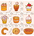doodle cakes vector image vector image