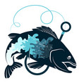 fish and hook design vector image vector image