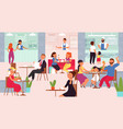 food court mall cafe interior eat people crowd vector image vector image