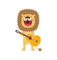 funny lion cartoon playing guitar and sings vector image