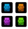 glowing neon pizzeria building facade icon vector image