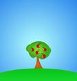 Green Apple tree full of red apples under blue sky vector image