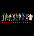 halloween party set monsters characters vector image