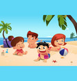 happy family having fun on beach vector image vector image