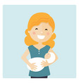 happy mom taking care her baby and blue background vector image