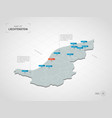 isometric liechtenstein map with city names and vector image vector image