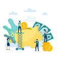 large piggy bank man climb to put coin in his vector image