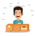 logistic services with support agent vector image vector image