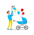 man carrying young boy smiling dad holding son vector image vector image