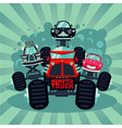 monster truck catoon with big car vector image