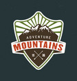 mountains camping emblem sticker label vector image vector image