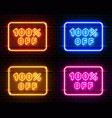 neon 100 off text banner color set night sign vector image vector image