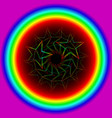 neon star from a spiral in a rainbow circle vector image