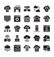 network and cloud computing glyph icon collection vector image vector image