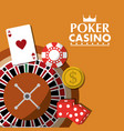 poker casino roulette wheel dice money card chip vector image