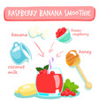 raspberry banana smoothies vector image vector image