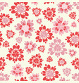 red pink and cream heart flowers seamless vector image vector image