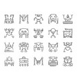 robot charcoal draw line icons set vector image vector image