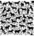 seamless pattern with silhouettes horses and vector image vector image