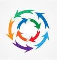 set of colored circular arrows vector image vector image
