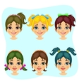 set of teenager girl avatar expressions vector image vector image