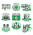 soccer sport bar football beer pub icons vector image vector image