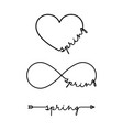 spring - word with infinity symbol hand drawn vector image vector image
