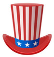 star striped uncle sam hat symbol united states of vector image
