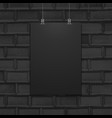 suspended poster mockup wall texture vector image vector image